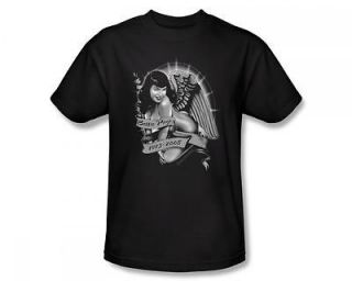 Bettie Page Remember Angel Wing Memorial Pin Up Icon T Shirt Tee