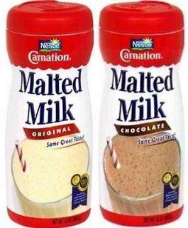 TWO Nestle Carnation MALTED MILK Malt Powder 2 Chocolate Original or