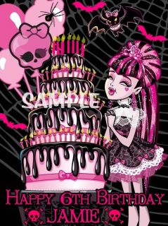 MONSTER HIGH DRACULAURA BIRTHDAY EDIBLE CAKE TOPPER DECORATIONS