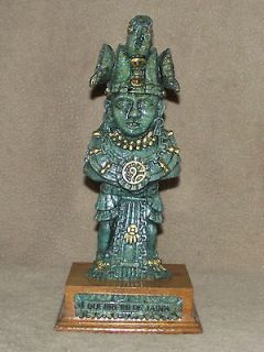 Mexico hand carved resin wood base Mayan Maya warrior Guerrero De