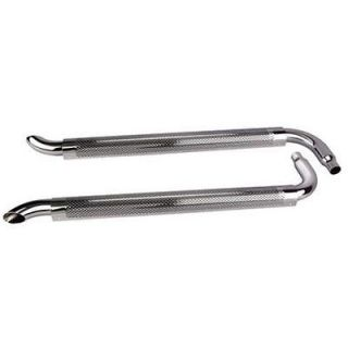 New Chrome 80 Side Exhaust Pipes w/ Mufflers, 2 1/4 ID Inlet, 3 OD