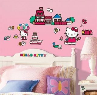 New WORLD OF HELLO KITTY WALL DECALS Girls Bedroom Stickers Pink Room
