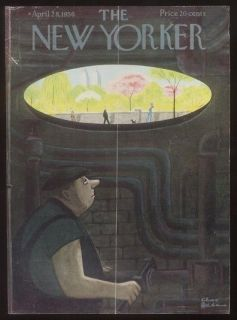 1956 Charles Addams manhole worker art New Yorker cover
