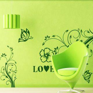 Removable Wall Stickers Art Decals Magic Vine Love Butterflies Custom