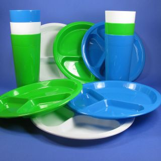 DINNING SET 2 DIVIDED 10 PLATES & 2 30oz TUMBLERS BPA FREE USA
