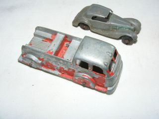 OLD TOOTSIE TOY FIRE TRUCK PLUS OLD ROADSTER CAR ANTIQUE TOY VEHICLE
