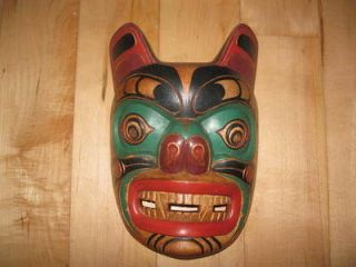 Native American Indian Reproduction Wolf Totem Mask (Non native carved