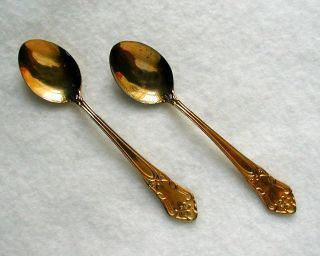 Two Vintage Demitasse Spoons MADE IN SWEDEN Gold Plate 4 1/4