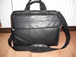 SAMSONITE Black LEATHER Shoulder Laptop Bag Briefcase Messenger