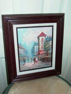 Caroline Burnett Paris Street Scene Oil Painting Listed