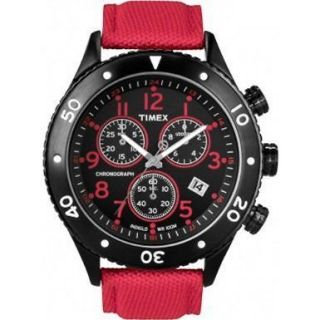 Timex Mens INDIGLO T Series Chronograph Black IP Stainless Steel Red