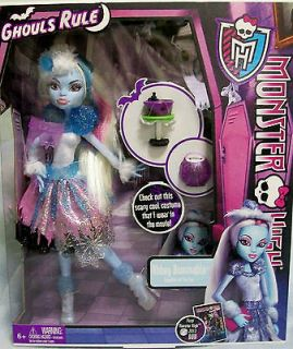 NEW MONSTER HIGH DOLL ABBEY BOMINABLE GHOULS RULE  MINT COSTUME FROM