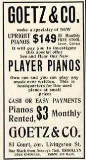 1909 Goetz & Co advertisement for Player Pianos & Upright Pianos