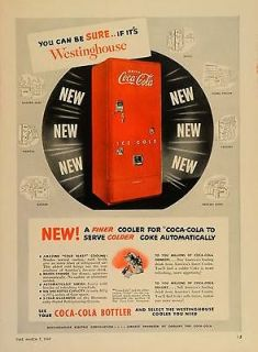 Coca Cola Cooler Dispenser Machine Westinghouse   ORIGINAL ADVERTISING
