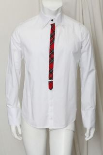 D2 Mens White Button Down Dress Shirt+Red Tartan Plaid Accent 42/52