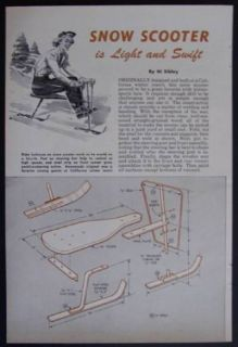 Snow Ski Scooter Sled 1953 How To build PLANS