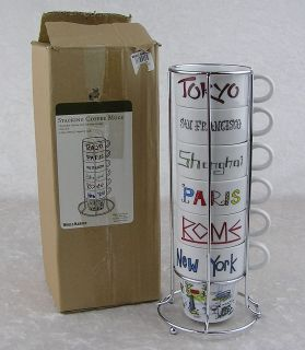 World Market 6 Stacking Collectible Cities Coffee Mug Set & Metal