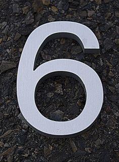 Modern House Number Aluminum Helvetica Font Six 6