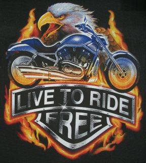Biker Tshirt: Live To Ride Free Davidson Motorcycle Gang Hog Rally