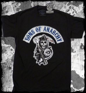 Sons of Anarchy   Logo SOA Biker Patch black t shirt   Official   FAST