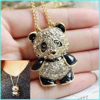 Vintage Crystal Rhinestone Fashion Teddy Bear Necklace Pendant Chain