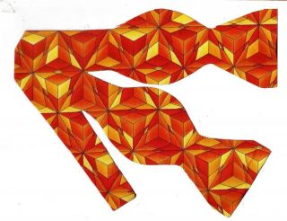 BOW TIE  COLORPLAY STARS   BRIGHT ORANGE & YELLOW ABSTRACT STARS