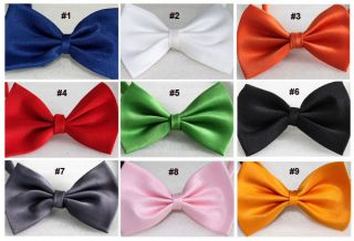 Party Kids Boys Girls Solid Colors Pre Tied Satin Bowties Bow Ties