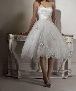 Tea length bridal gown beach wedding dress short summer 2012 Quality