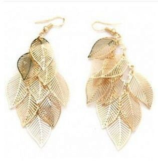 Retro Vintage Bohemian Tassel gold leaf beaded Chandelier Earrings E91