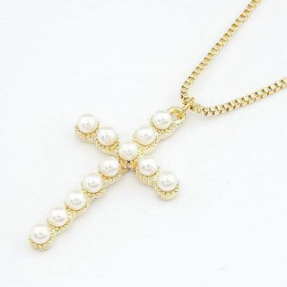 Retro vintage necklace fashion jewelry Golden Cross pearls pendant