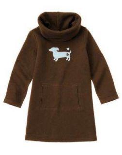 Gymboree GIRLS BEST FRIEND Brown Dachshund Dog Cowl Neck Fleece Dress
