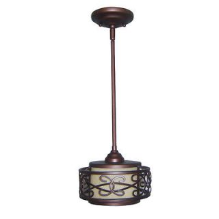 allen + roth French Bronze Box Mini Pendant Light with Tinted Broken