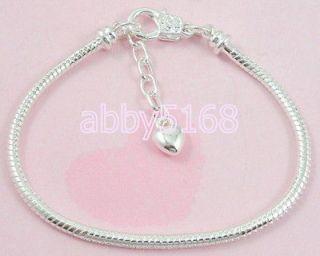Chain Lobster Clasp Silver /P Charm Bracelets Fit European Bead L13