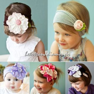 Pretty COTTON HEADBAND Rose Flowers Bow Hair Band Stretch Baby Toddler