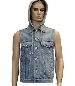 Sleeveless Denim Jackets, detachable Hoodie, Premium Quailty, button