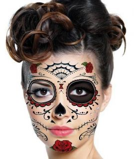 Day of the Dead Dia De Los Muertos Temp Face TATTOO Halloween Sugar