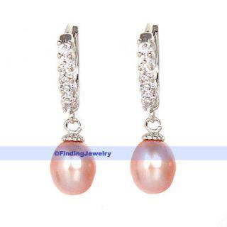 Lavender Pearl & Swarovski Crystal Hoop Drop Earrings  CHRISTMAS GIFT