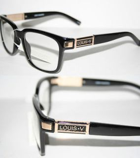 Louis V Eyewear Paris Nerd Clear Lense Glasses Geek Black Gold 107