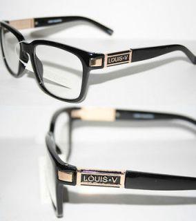 Louis V Eyewear Paris Nerd Clear Lense Glasses Geek Black Gold 107