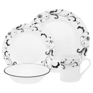 Corelle 16pc FAENZA Dinnerware Set /BLACK WHITE Watercolor ITALIAN
