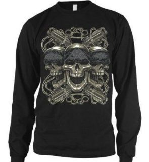 Life Skulls Guns Dark Gothic Graphic Long Sleeve Thermal T Shirt Tee