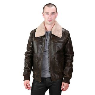 mens leather bomber jacket in Coats & Jackets