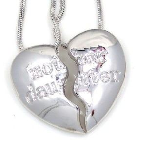 Daughter Heart Silvertone 2 Pendants Charms 2 Necklaces Mom Ship USA