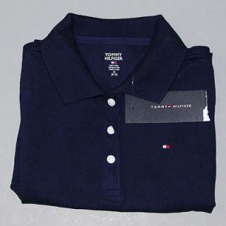 GIRLS KIDS TOMMY HILFIGER CLASSIC S/S NAVY POLO SHIRT POLOS CHILDRENS