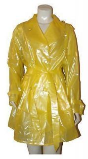 Clear Yellow PVC Raincoat Trench Coat Mac Rainwear M Vinyl Plastic