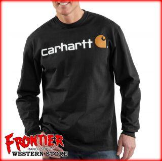 Carhartt Long Sleeve Cotton Logo T Shirt Black K298 BLK