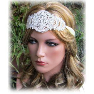 Handmade grecian bridal headband, Swarovski crystal headpiece, bridal