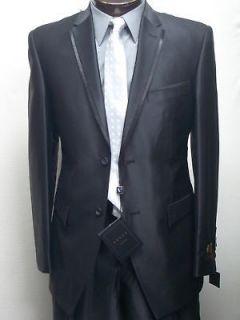 MENS SHINY SLIM FIT BLACK DRESS SUIT SIZE 44L NEW SUIT