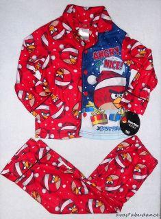 christmas ANGRY BUT NICE boy pajama set 4 6 8 red pant top NEW santa