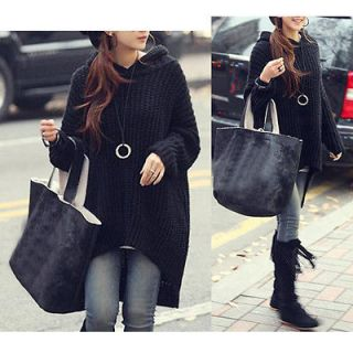 Women Fashion Outerwear Loose Long Irregular Hem Hooded Sweater Jumper